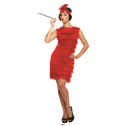 Ladies 1920s Red Flapper Charleston Costume Gangster Fancy Dress Outfit