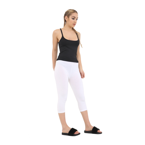 Ladies White Cotton Capri Leggings 3/4 Length