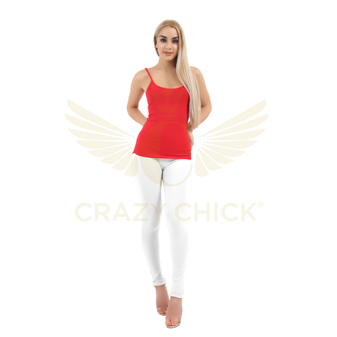 Ladies White Cotton Full Length Leggings