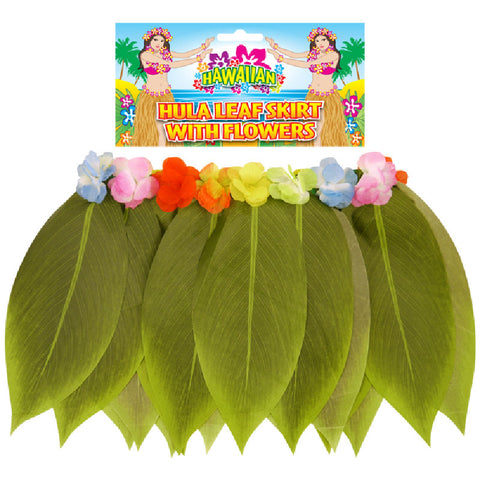 Adult Leaf Hula Skirt With Flowers Hawaiian Beach Party Dress