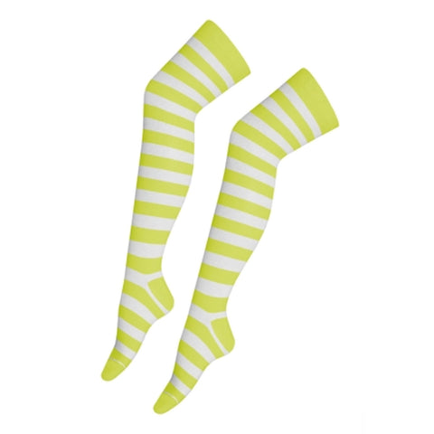 Women Light Green White Over The Knees Stripe Socks