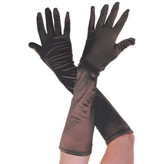 Ladies Long Black Opera Evening Satin Finger Gloves Party Fancy Dress Prom
