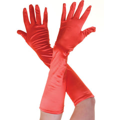 Ladies Long Red Opera Evening Satin Finger Gloves Party Fancy Dress Prom