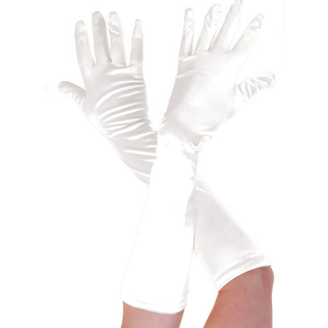 Ladies Long White Opera Evening Satin Finger Gloves Party Fancy Dress Prom