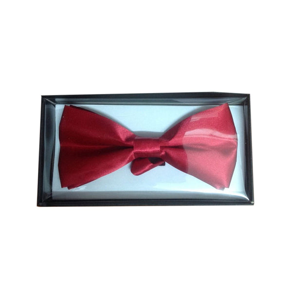 Adult Satin Maroon Bow Tie with Gift Box