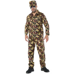 Mens Camouflage Army Costume Military Combat Fancy Dress