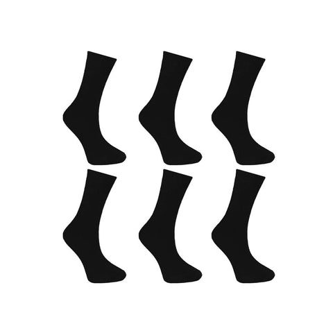 Men Ralph Lewis Plain Black Cotton Socks (6 Pairs)