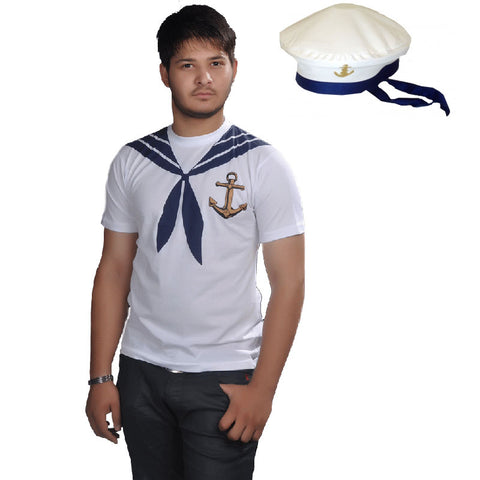 Adult Sailor Man Printed T-Shirt With Hat Fancy Dress Navy Costume Set