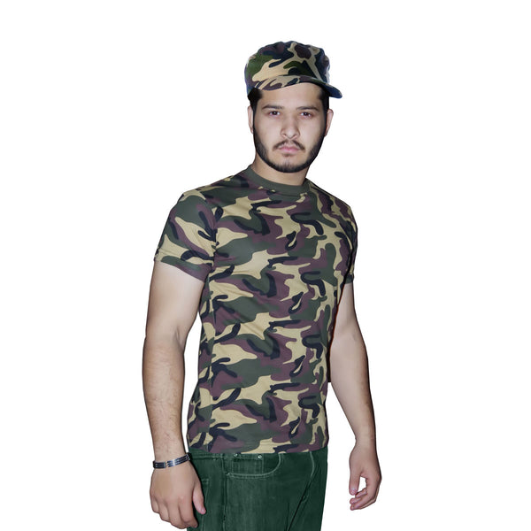 Men Army T-Shirt Camouflage Military Combat Fancy Dress