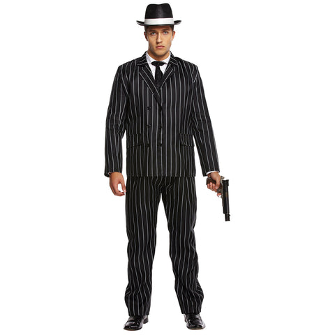 Mens Gangster Boss Costume 1920s Mafia Pinstripe Suit Adult Fancy Dress Outfit