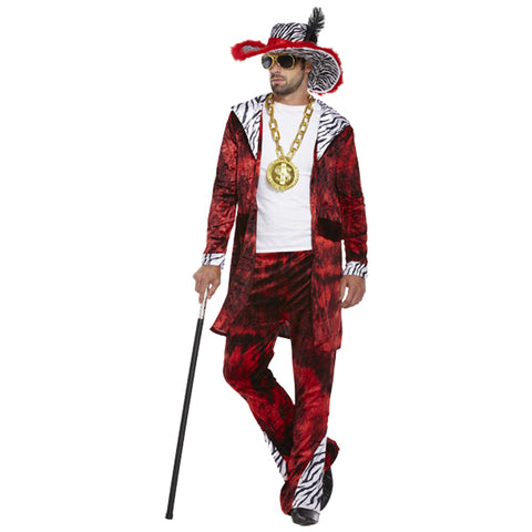 Mens Pimp Fancy Dress Costume 1920s Retro Big Daddy Rapper Gangster Outfit