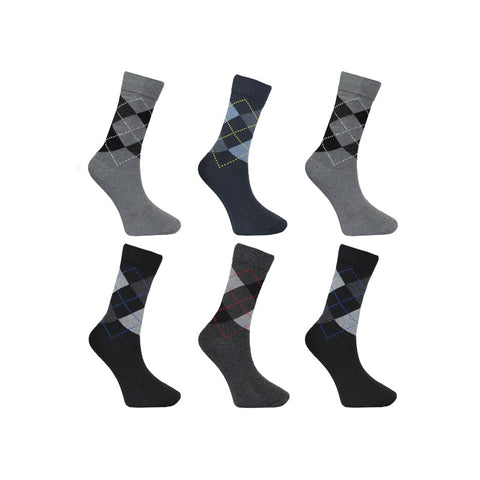 Men's Ralph Lewis Dark Argyle Diamond Cotton Socks (6 Pairs)