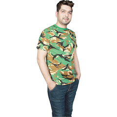 Mens Camouflage T-Shirt Military Army Fancy Dress Combat Top