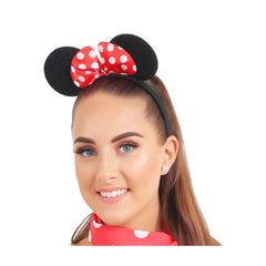Mouse Ears Headband With Red Bow