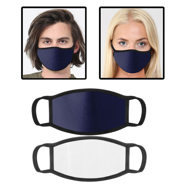 Navy Cotton Face Mask With Filter Pocket