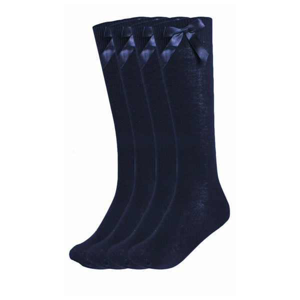 Girls 3 Pairs Value Pack Navy Knee High Bow Detail Back 2 School Cotton Rich Socks