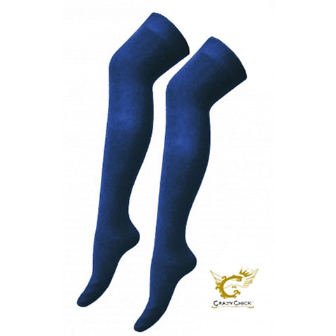 Womens Over The Knees Plain Navy Socks