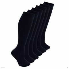 Girls 3 Pairs Value Pack Navy Plain Knee High Back 2 School Cotton Rich Socks