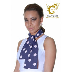Ladies Crazy Chick Navy White Polka Dot 111cm Scarf Fancy Dress Accessory