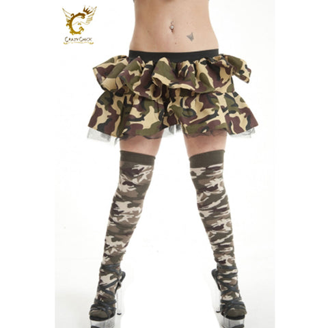 Camouflage Over The Knees Socks Army Fancy Dress Accessory