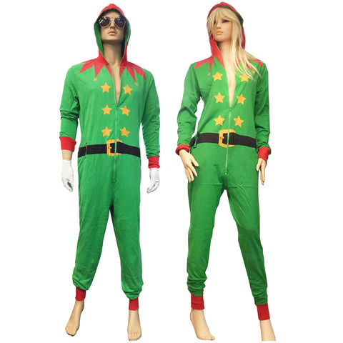 Christmas Adult Green Santa Onesie Costume Unisex Xmas Fancy Dress