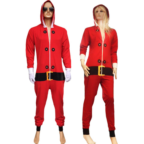 Christmas Adult Red Santa Onesie Costume Unisex Xmas Fancy Dress