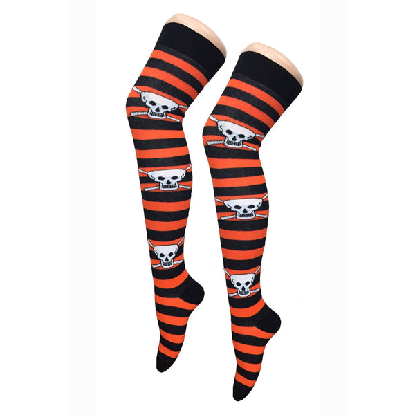 Women Orange Black Stripe Skull Over The Knees Socks