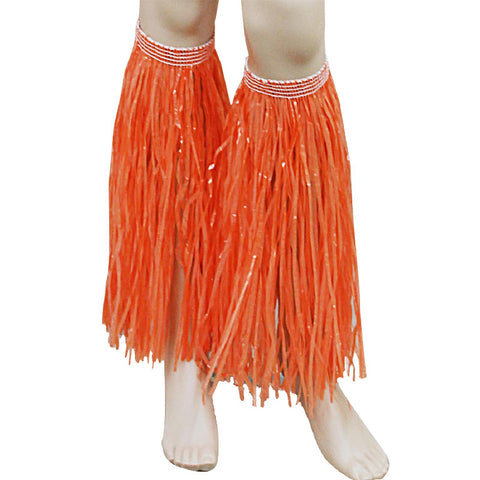 Orange Hula Straw Leg Cuffs Hawaiian Beach Party Accessory