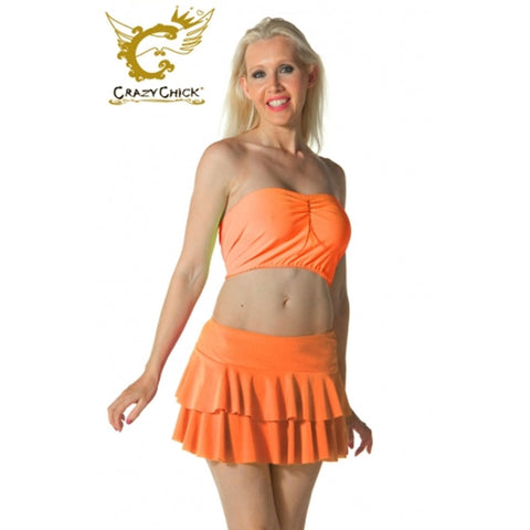 Women Orange RARA Two Tier Frill Mini Skirt