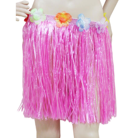 Adult Pink Hula Skirt with Flowers Hawaiian Beach Party Dress