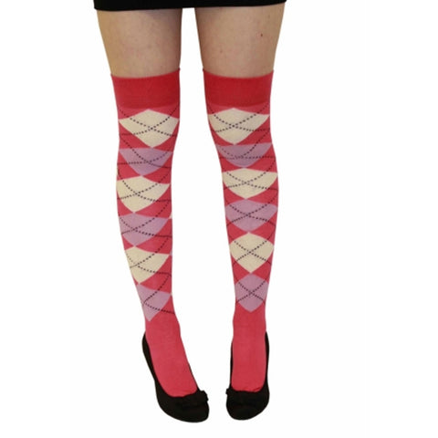 Women Pink Lilac and Cream Argyle Over The Kness Socks