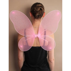 Angel Pink Net Fairy Wings with Silver Glitter Ladies Fancy Dress Accessory