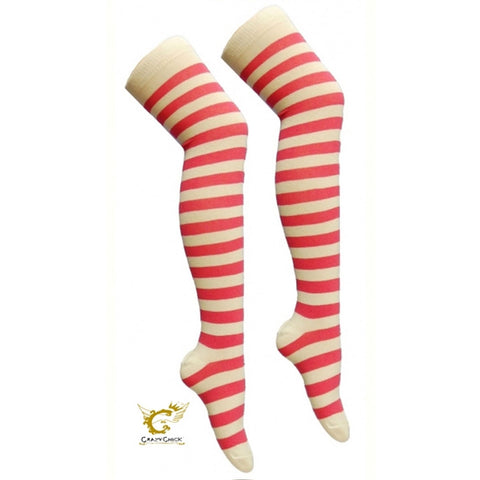 Women Pink White Over The Knees Stripe Socks