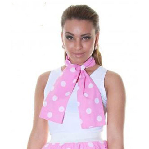 Ladies 1950's Pink White Polka Dot 18 Inches Short Skirt Set
