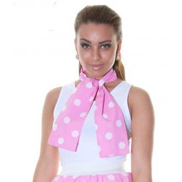 Ladies Pink White Polka Dot 111cm Scarf Fancy Dress Accessory