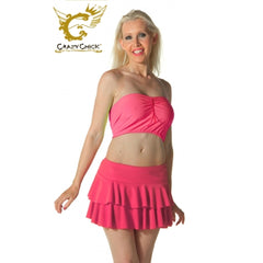Ladies Women Hot Pink RARA Two Tier Frill Gym Dance Neon Mini Skirts Fancy Dress