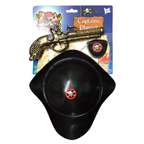 Pirate Hat and Fake Pistol Set Captain Hat Jack Toys Fancy Dress Accessories
