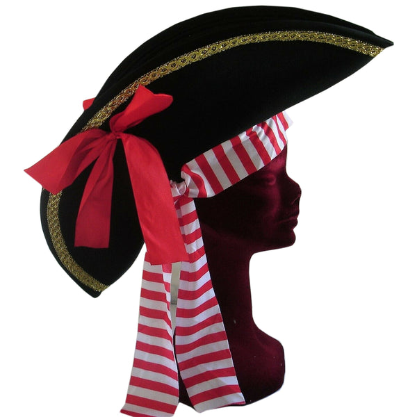 Ladies Black Pirate Hat with Gold Braid Red Bow & Bandana Fancy Dress