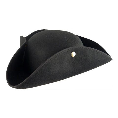 Adult Black Pirate TRICOR Hat Mens Ladies Fancy Dress Caribbean Accessory