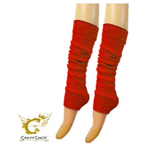 Crazy Chick Womens Red Plain Leg Warmer
