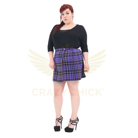 Women Purple Wrap Over Tartan Skirt Plus Size Pleated Check School Skirts