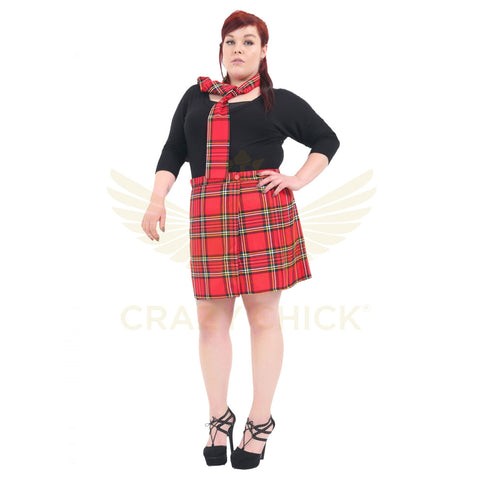 Women Red Wrap Over 18 Inches Tartan Skirt Plus Size Pleated Check Skirts