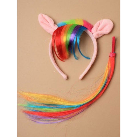 Pony Ears Aliceband With Rainbow Fur Trim And Imitation Hair Fringe Matching Tail