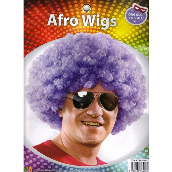 Adults Purple Afro Wig Curly Fancy Dress Funky Disco Clown Style 70s Hair