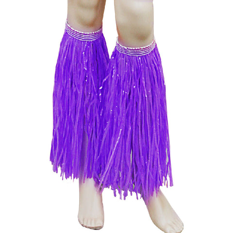 Purple Hula Straw Leg Cuffs Hawaiian Beach Party Accessory