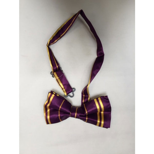 Adult Satin Purple Yellow Striped Bow Tie