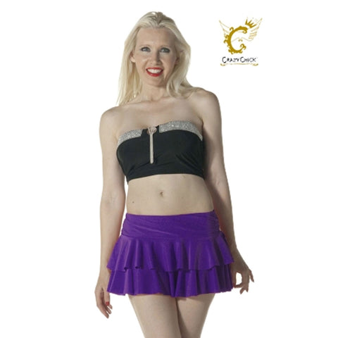 Women Purple RARA Two Tier Frill Mini Skirt