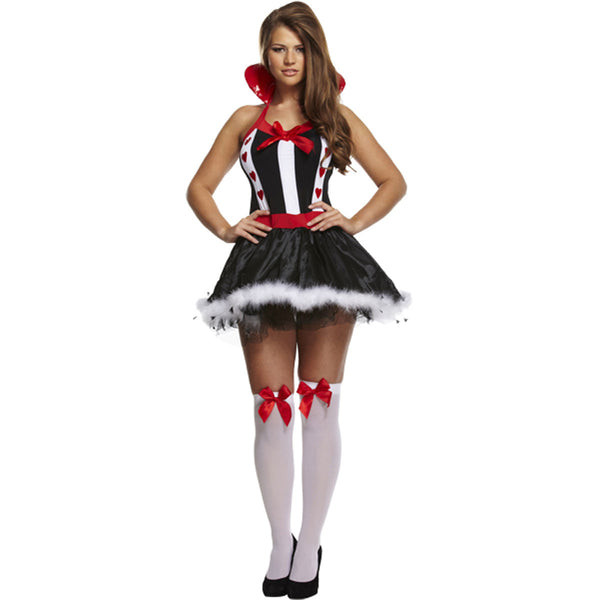 Sexy Queen Of Hearts Dress Up Adult Costume Ladies Hen Do Fancy Dress Outfit