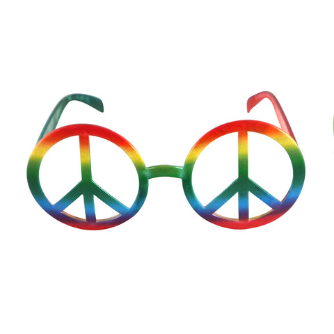 Adults Peace Sign Rainbow Glasses No Lens Hippy Fancy Party Dress Wear Accessory