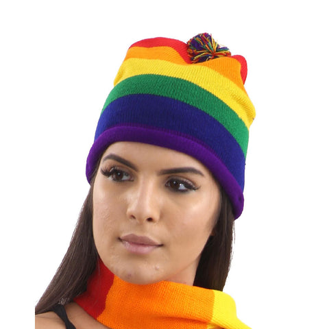 Rainbow Knitted Hat Gay Pride